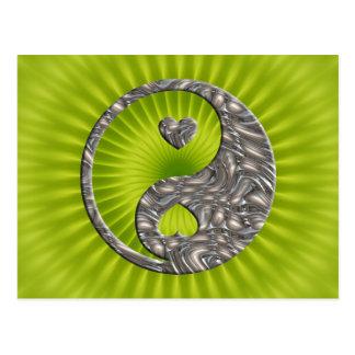 Yin Yang Hearts SILVER Post Card