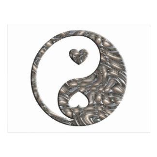 Yin & Yang / Hearts SILVER Postcard