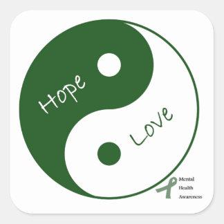 Yin Yang Hope Love Mental Health Awareness Square Stickers
