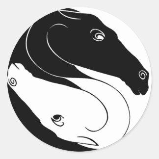 Yin Yang Horse Heads Round Sticker