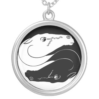 Yin Yang Horses Silver Plated Necklace