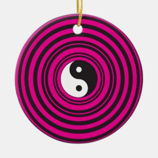 Yin Yang Hot Pink Black Concentric Circles Christmas Ornament