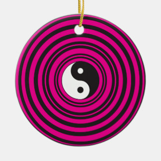 Yin Yang Hot Pink Black Concentric Circles Round Ceramic Decoration