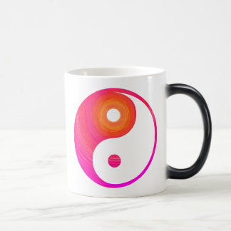 Yin Yang Hot Pink, Purple, and Orange Illustration Magic Mug
