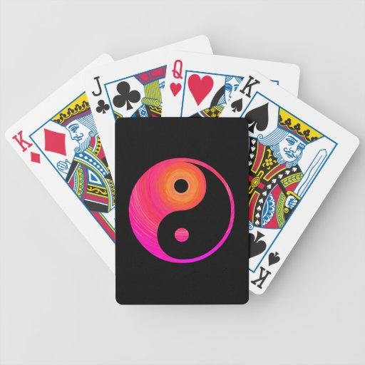Yin Yang Hot Pink, Purple, and Orange Illustration Card Decks