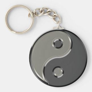 Yin Yang in 2 Shades of Gray Basic Round Button Key Ring
