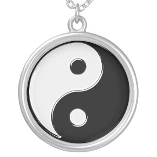 Yin Yang in Black and White Silver Plated Necklace