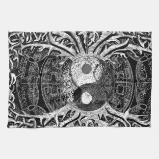 Yin Yang in Black and White w/ Tree of Life Hand Towel