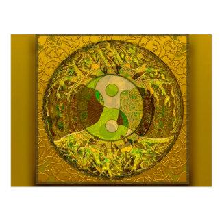 Yin Yang in Golden Colors Postcard
