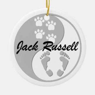 yin yang jack russell christmas ornament