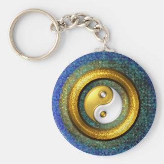 Yin-Yang Keychain, Golden Ring and Blue mosaic Basic Round Button Key Ring