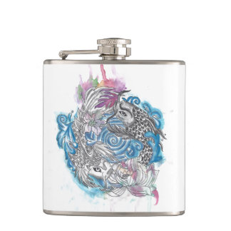Yin Yang Koi Fish Hip Flask