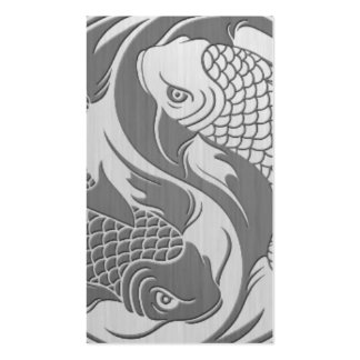 Yin Yang Koi Fish with Stainless Steel Effect Business Card