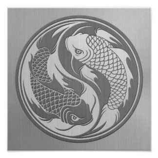Yin Yang Koi Fish with Stainless Steel Effect Poster