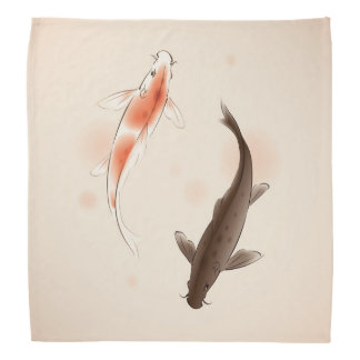 Yin Yang Koi fishes in oriental style painting Bandanas