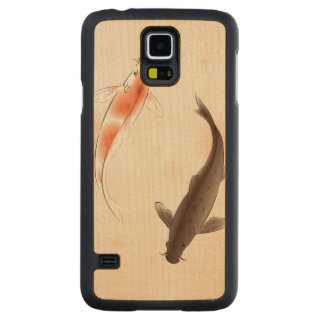Yin Yang Koi fishes in oriental style painting Carved Maple Galaxy S5 Case