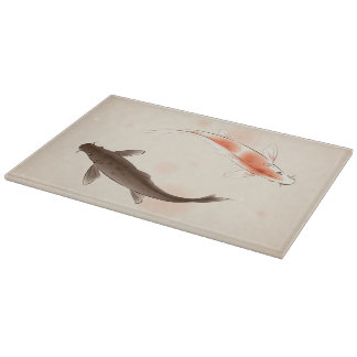 Yin Yang Koi fishes in oriental style painting Cutting Board