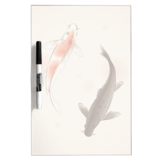 Yin Yang Koi fishes in oriental style painting Dry Erase Board