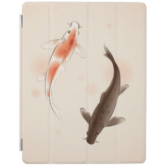 Yin Yang Koi fishes in oriental style painting iPad Cover