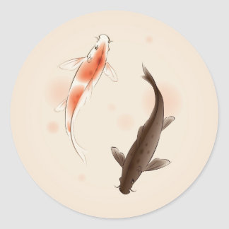 Yin Yang Koi fishes in oriental style painting Round Sticker