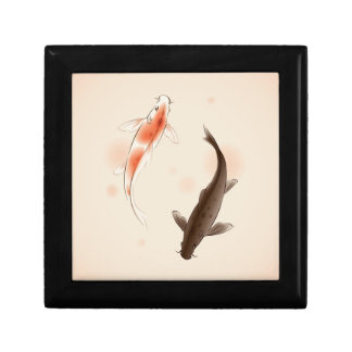 Yin Yang Koi fishes in oriental style painting Small Square Gift Box