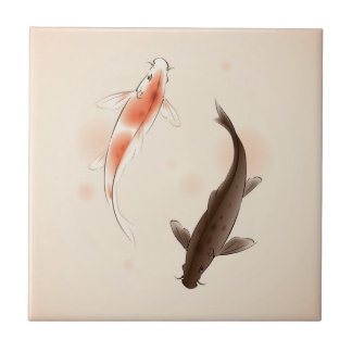 Yin Yang Koi fishes in oriental style painting Tile
