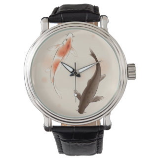 Yin Yang Koi fishes in oriental style painting Watch