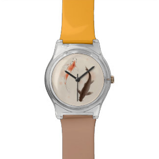 Yin Yang Koi fishes in oriental style painting Wristwatches
