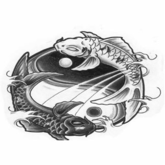 yin yang koi photo sculpture key ring
