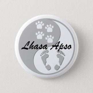 yin yang lhasa apso 6 cm round badge
