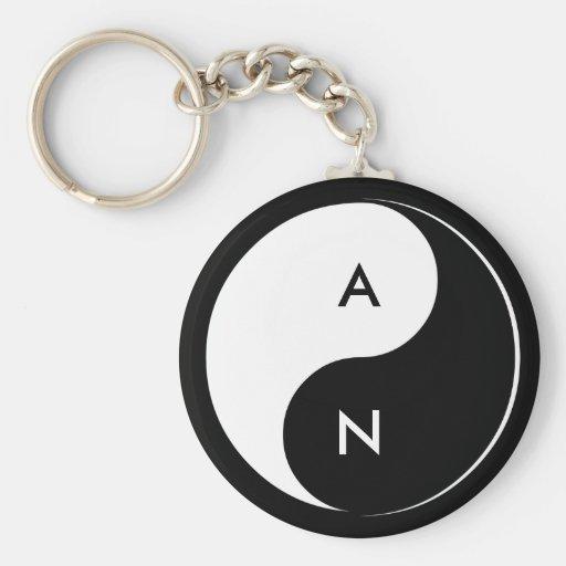 Yin Yang Lovers Initials keychain