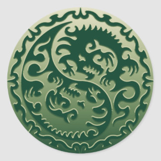 Yin Yang Magical Dragons 2 Round Sticker