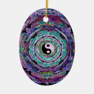 Yin Yang Mandala in Purple Colors Ceramic Oval Decoration