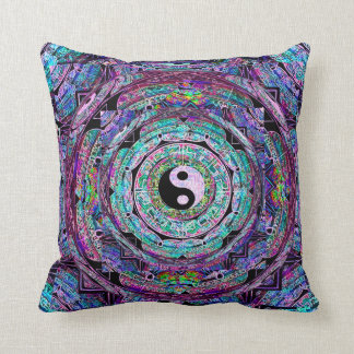 Yin Yang Mandala in Purple Colors Cushion