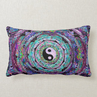 Yin Yang Mandala in Purple Colors Lumbar Cushion