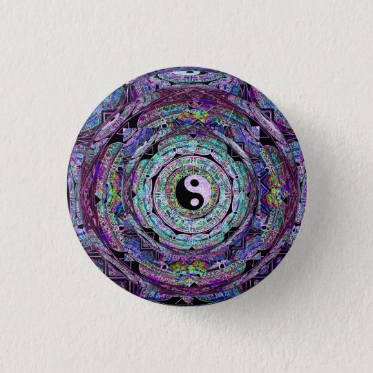 Yin Yang Mandala Purple 3 Cm Round Badge