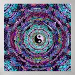 Yin Yang Mandala Purple Poster