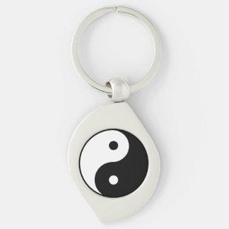 Yin Yang Metal Keychain Silver-Colored Swirl Key Ring