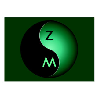 yin yang monogram - green pack of chubby business cards