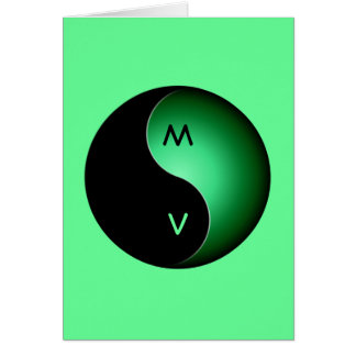 yin yang monogram - green greeting card