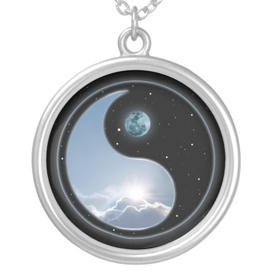 Yin Yang Moon Sun Silver Plated Necklace