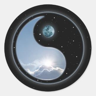 Yin Yang Moon Sun Round Sticker