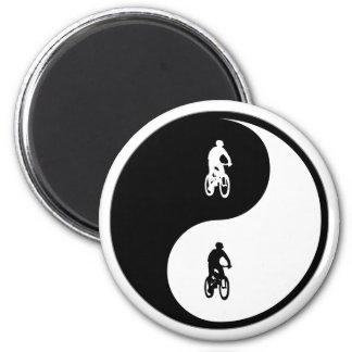Yin Yang Mountain Biking Refrigerator Magnet