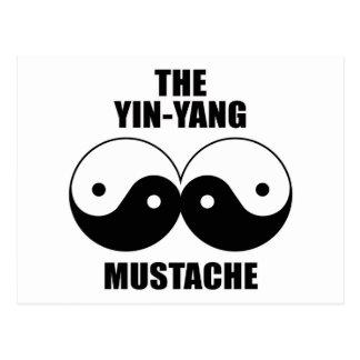 Yin-Yang Mustache Post Cards