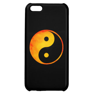 Yin Yang Orange and Yellow Watercolor on Black Case For iPhone 5C