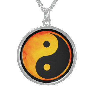 Yin Yang Orange and Yellow Watercolor on Black Sterling Silver Necklace