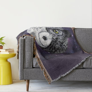 Yin Yang Owls Throw Blanket