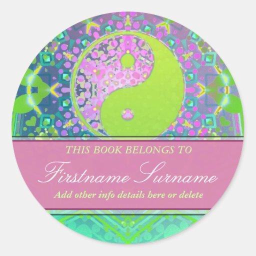 Yin Yang Pastels Bookplate Sticker