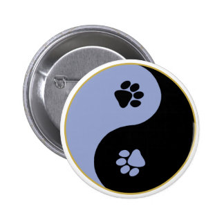 Yin Yang Paws Blue 6 Cm Round Badge