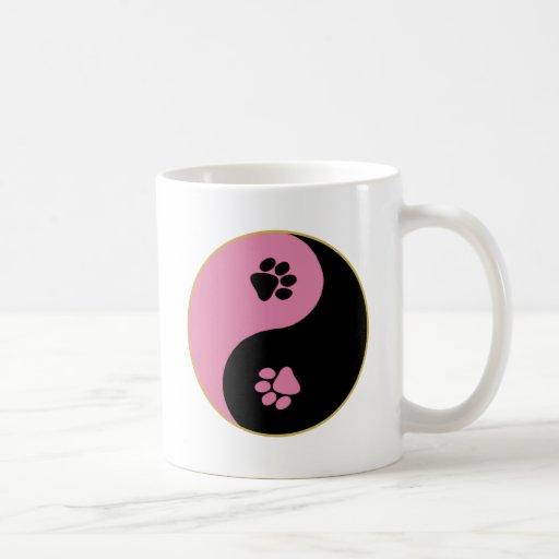 Yin Yang Paws Pink Basic White Mug